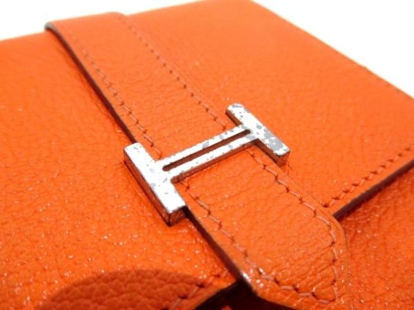 エルメス 2つ折り財布 ベアンコンパクト オレンジ 新型シルバー金具 7