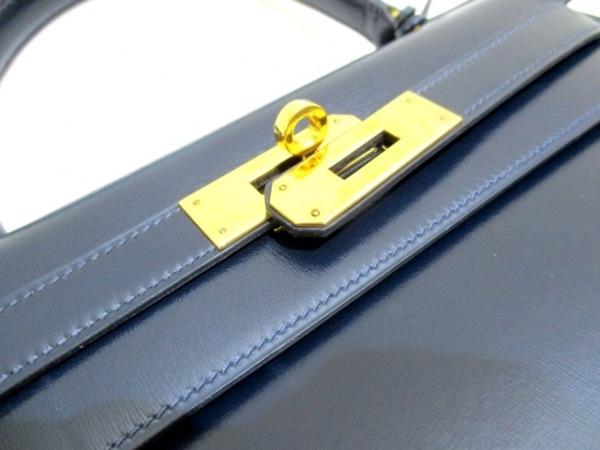 エルメス ハンドバッグ ケリー28 ブルーロワイヤル ボックスカーフ 3