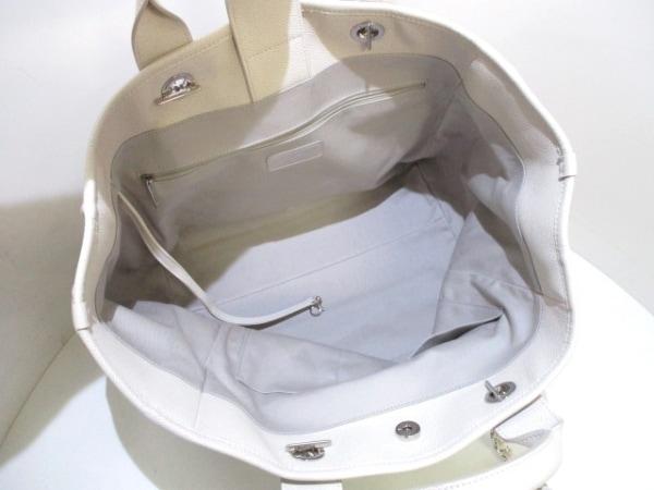 シャネル トートバッグ ドーヴィルラインGM アイボリー レザー 5