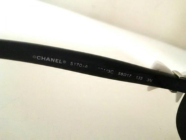 シャネル サングラス 5170-A ダークグレー×黒×シルバー リボン 4