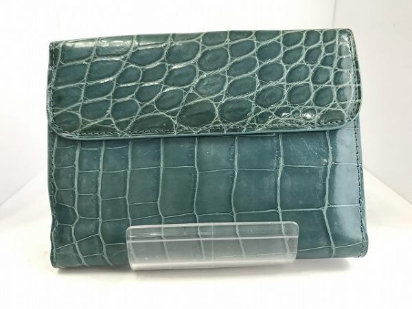 KWANPEN(クワンペン) Wホック財布 ブルー クロコダイル 2