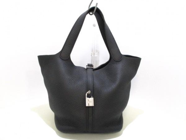 エルメス ハンドバッグ美品  ピコタンロックMM 黒 シルバー金具 0