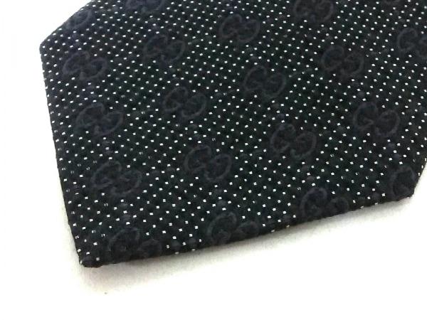 GUCCI(グッチ) ネクタイ メンズ美品  GG柄 黒×白×ダークパープル 5