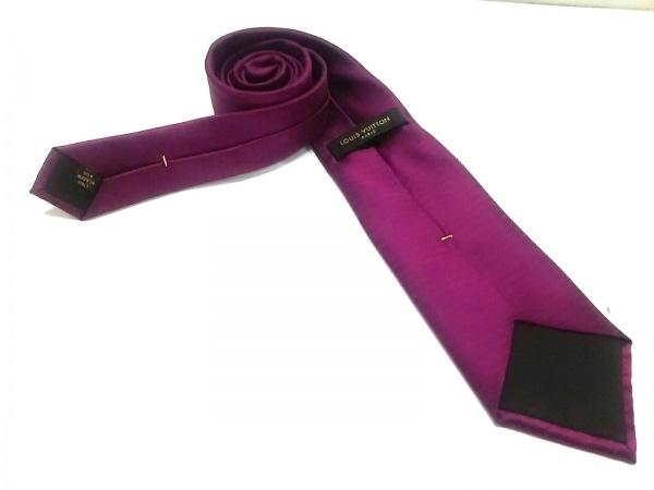 ルイヴィトン ネクタイ メンズ美品  ピンクパープル×パープル 2