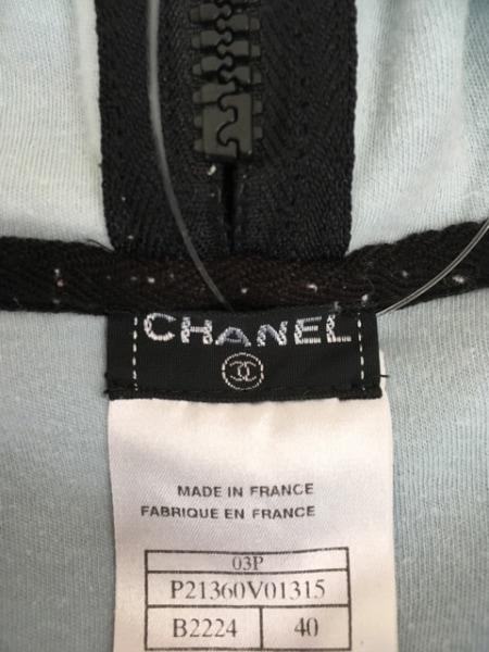 CHANEL(シャネル) パーカー サイズ40 M レディース 黒×ライトブルー 3