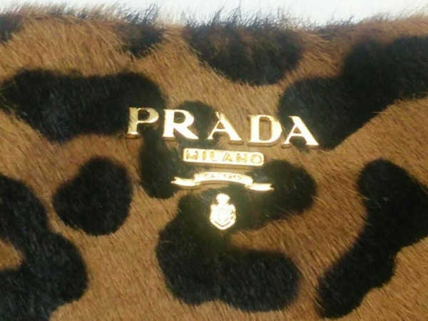 PRADA(プラダ) ポーチ - 1N1422 ブラウン×黒 豹柄 ハラコ 5