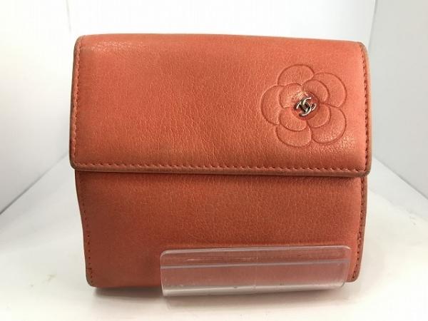 CHANEL(シャネル) Wホック財布 カメリア ピンク 型押し加工 レザー 0