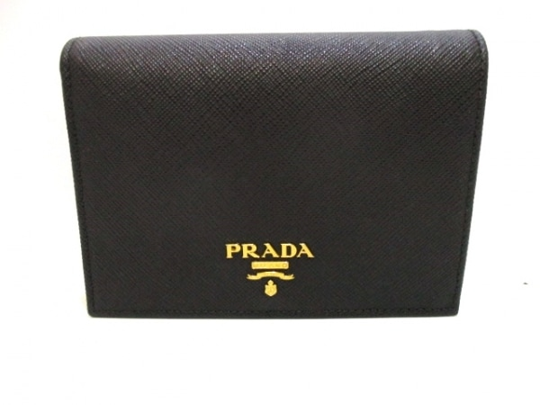 PRADA(プラダ) 2つ折り財布美品  - 1MV668 黒 レザー 0