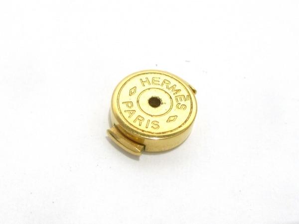 エルメス ピアス美品  ポップアッシュ 金属素材 オレンジ×ゴールド 3