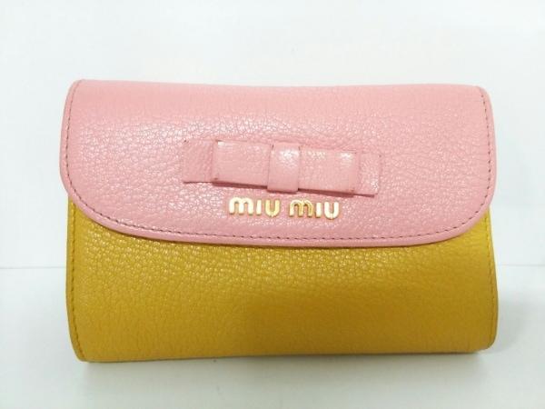 ミュウミュウ 3つ折り財布美品  - 5ML225 ピンク×イエロー リボン 0