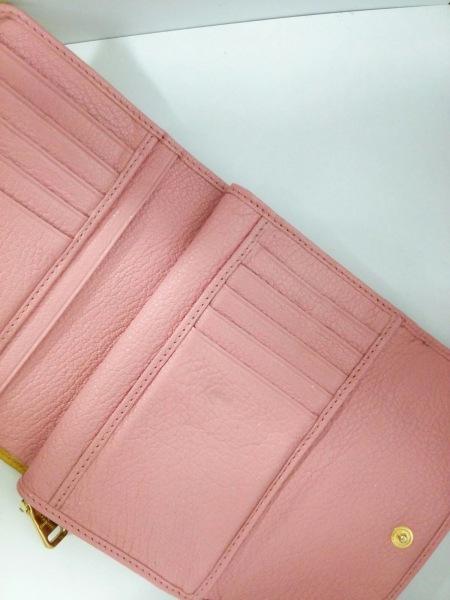 ミュウミュウ 3つ折り財布美品  - 5ML225 ピンク×イエロー リボン 3