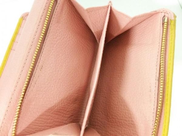 ミュウミュウ 3つ折り財布美品  - 5ML225 ピンク×イエロー リボン 4