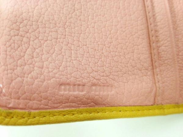 ミュウミュウ 3つ折り財布美品  - 5ML225 ピンク×イエロー リボン 5