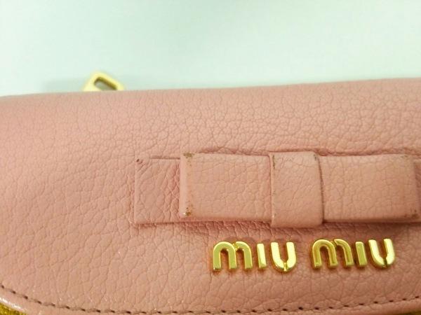 ミュウミュウ 3つ折り財布美品  - 5ML225 ピンク×イエロー リボン 9