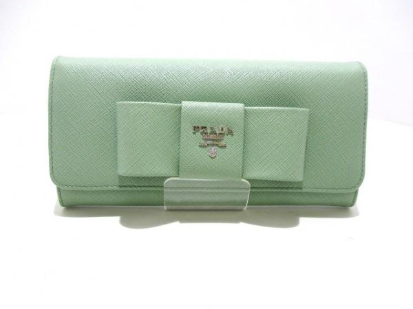 PRADA(プラダ) 長財布美品  - 1MH132 ライトグリーン リボン 0
