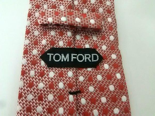 TOM FORD(トムフォード) ネクタイ メンズ美品  白×レッド ドット柄 3