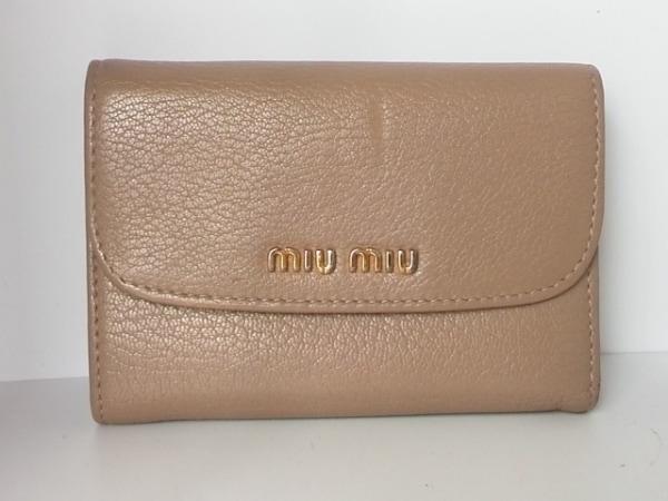 miumiu(ミュウミュウ) Wホック財布 - 5M1373 ベージュ レザー 0