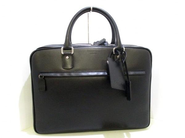 SERAPIAN(セラピアン) ビジネスバッグ美品  黒 ロゴ型押し レザー 0