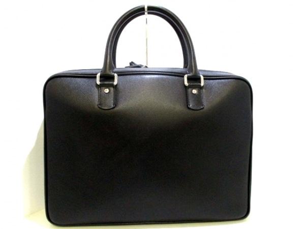 SERAPIAN(セラピアン) ビジネスバッグ美品  黒 ロゴ型押し レザー 3