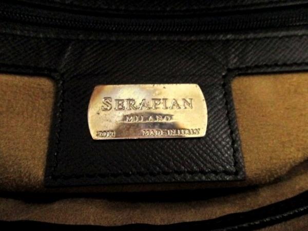 SERAPIAN(セラピアン) ビジネスバッグ美品  黒 ロゴ型押し レザー 6