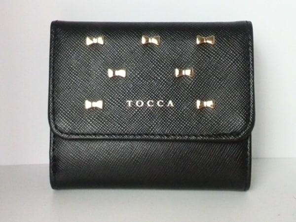 トッカ Wホック財布美品  黒×ゴールド リボン レザー×金属素材 0