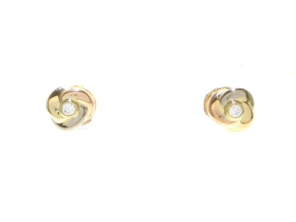カルティエ ピアス美品  B8027100 K18スリーカラー×ダイヤモンド 0
