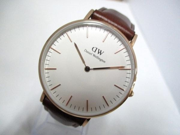 ダニエルウェリントン 腕時計美品  - レディース 革ベルト 白 0