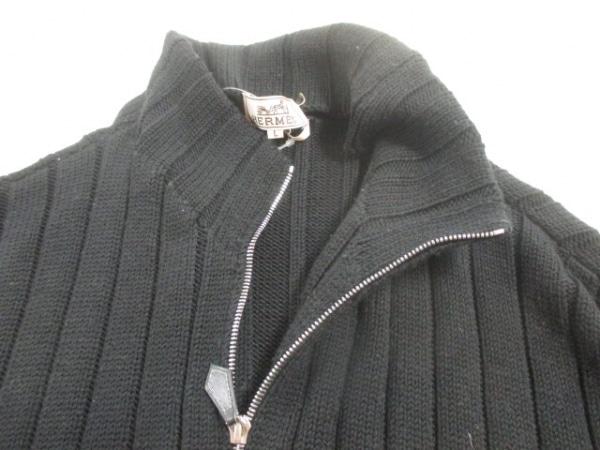 HERMES(エルメス) 長袖セーター サイズL メンズ 黒 ジップアップ 5