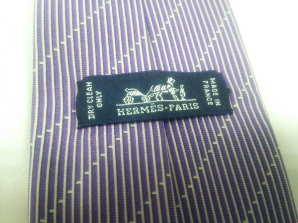 HERMES(エルメス) ネクタイ メンズ美品  パープル×アイボリー 3