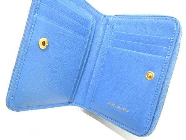 サンローランパリ 2つ折り財布 403723 ライトブルー レザー 3