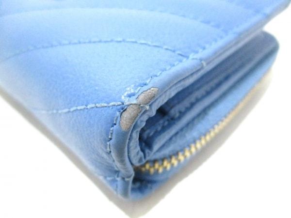 サンローランパリ 2つ折り財布 403723 ライトブルー レザー 7