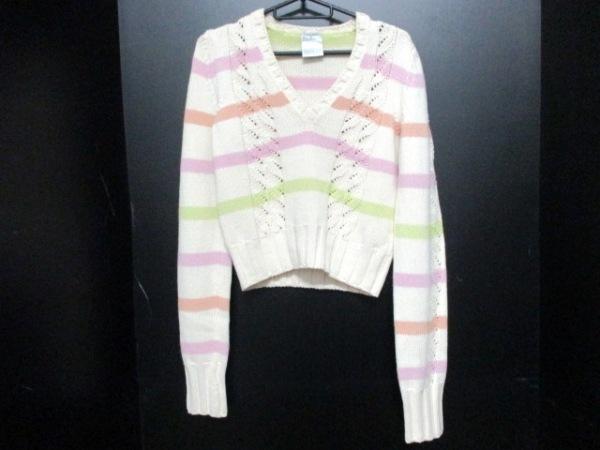 シャネル 長袖セーター サイズ42 L レディース美品  ボーダー 0