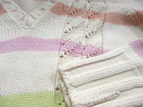 シャネル 長袖セーター サイズ42 L レディース美品  ボーダー 6