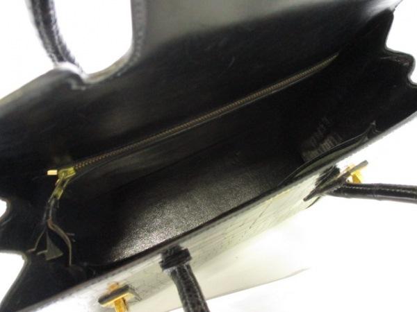 エルメス ハンドバッグ ドラッグ26 黒 ゴールド金具 クロコダイル 2