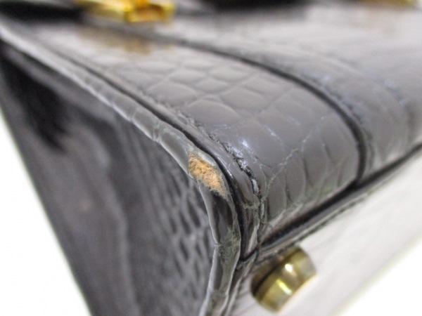 エルメス ハンドバッグ ドラッグ26 黒 ゴールド金具 クロコダイル 6