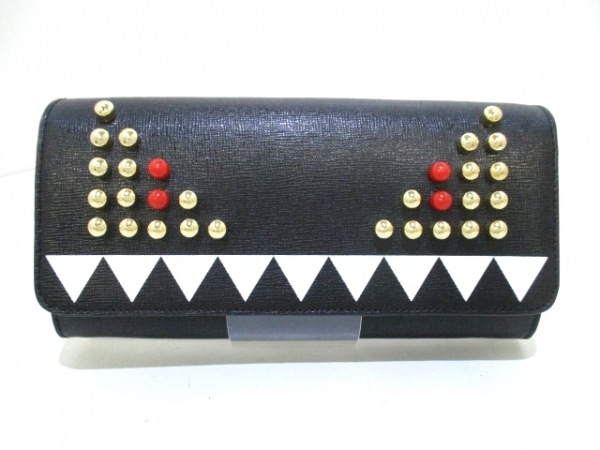 FENDI(フェンディ) 財布美品  - 8M0365 黒×白×マルチ レザー 0