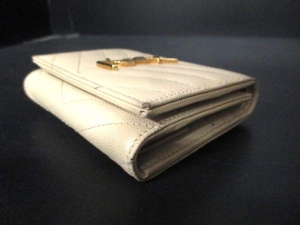 サンローランパリ 3つ折り財布 362672 ベージュ レザー 6