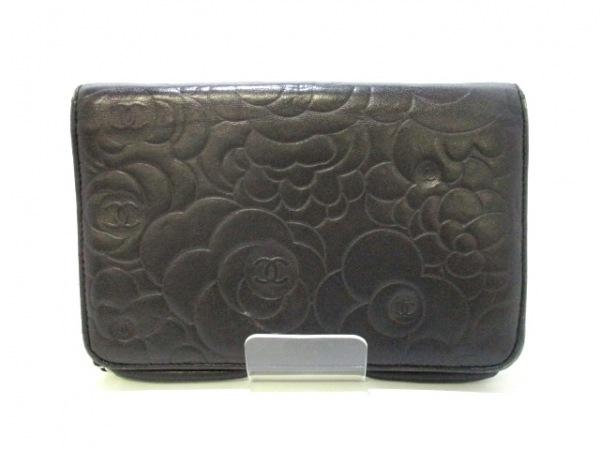 シャネル 財布 カメリア A47421 黒 シルバー金具/チェーンウォレット 2