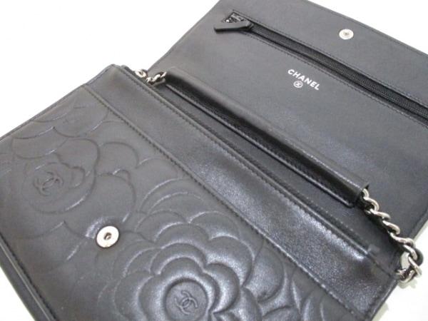 シャネル 財布 カメリア A47421 黒 シルバー金具/チェーンウォレット 3