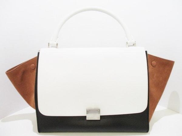 CELINE(セリーヌ) ハンドバッグ美品  トラペーズ 白×黒×ブラウン 0