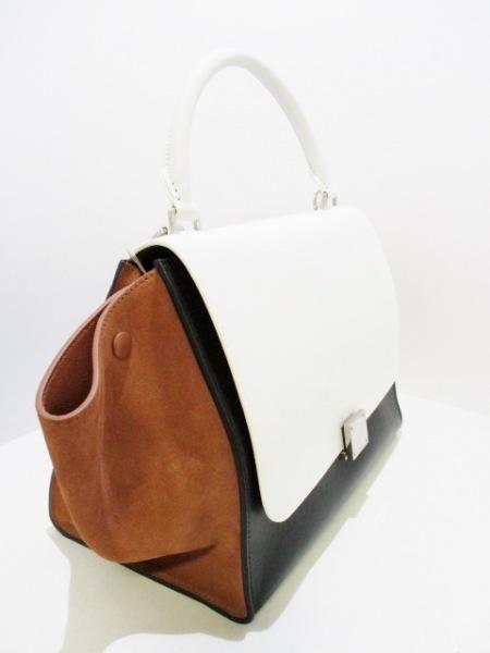 CELINE(セリーヌ) ハンドバッグ美品  トラペーズ 白×黒×ブラウン 2