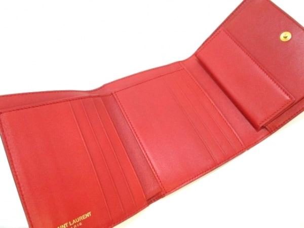 サンローランパリ 3つ折り財布美品  クラシック Y 328599 レッド 3