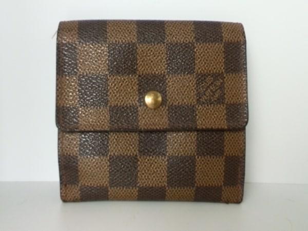 ルイヴィトン Wホック財布 ダミエ N61652 エベヌ ダミエキャンバス 0