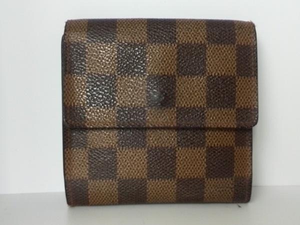 ルイヴィトン Wホック財布 ダミエ N61652 エベヌ ダミエキャンバス 2