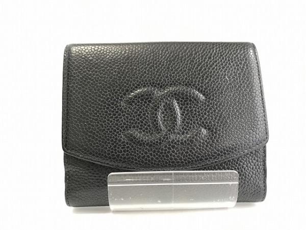 CHANEL(シャネル) Wホック財布 キャビアスキン 黒 キャビアスキン 0