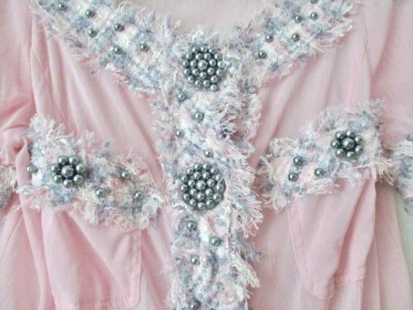 ノコオーノ 半袖カットソー レディース美品  ピンク×グレー×白 5