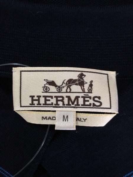 エルメス 半袖ポロシャツ サイズM メンズ ダークネイビー×ブルー 3