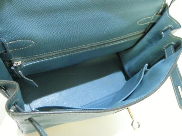 エルメス ハンドバッグ ケリー28 ブルージーン 内縫い/シルバー金具 2