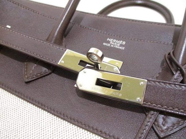 エルメス ハンドバッグ バーキン35 アイボリー×ハバナ シルバー金具 3
