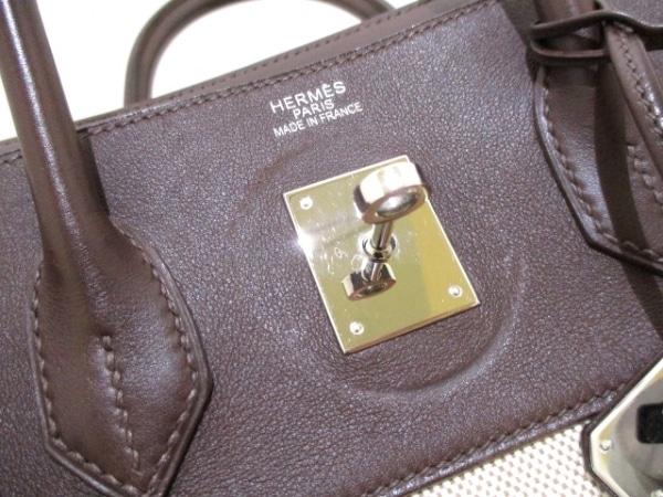 エルメス ハンドバッグ バーキン35 アイボリー×ハバナ シルバー金具 7